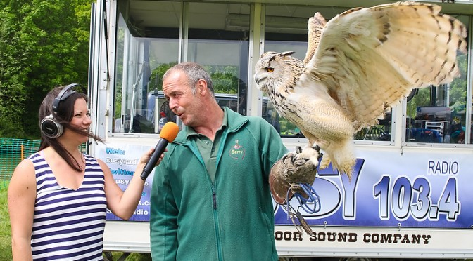 Susy Radio broadcasting live from The South Eastern Shire Horse Association (S.E.S.H.A) Heavy Horse And Country Show at Newchapel - May 21st/ 22nd 2016. Picture Shows: Izzie Brooks chats live on air with Barry Ryder from Henfold Birds Of Prey.  Photo: © 2016  Ian Stratton