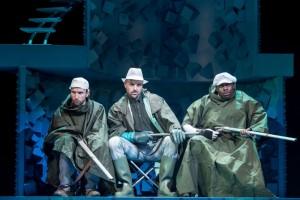 Fantastic Mr Fox at Nuffield Southampton Theatres. Gruffudd Glyn (Bunce), Richard Atwill (Bean) and Raphael Bushay (Boggis). Photo credit Manuel Harlan
