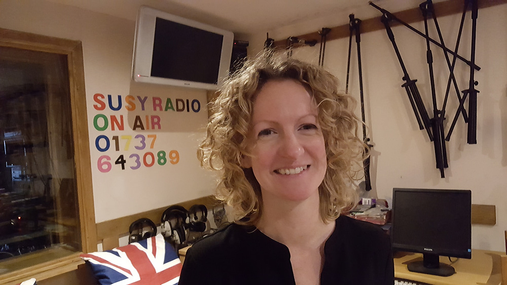 Vicky Woodall in the Susy Radio studio