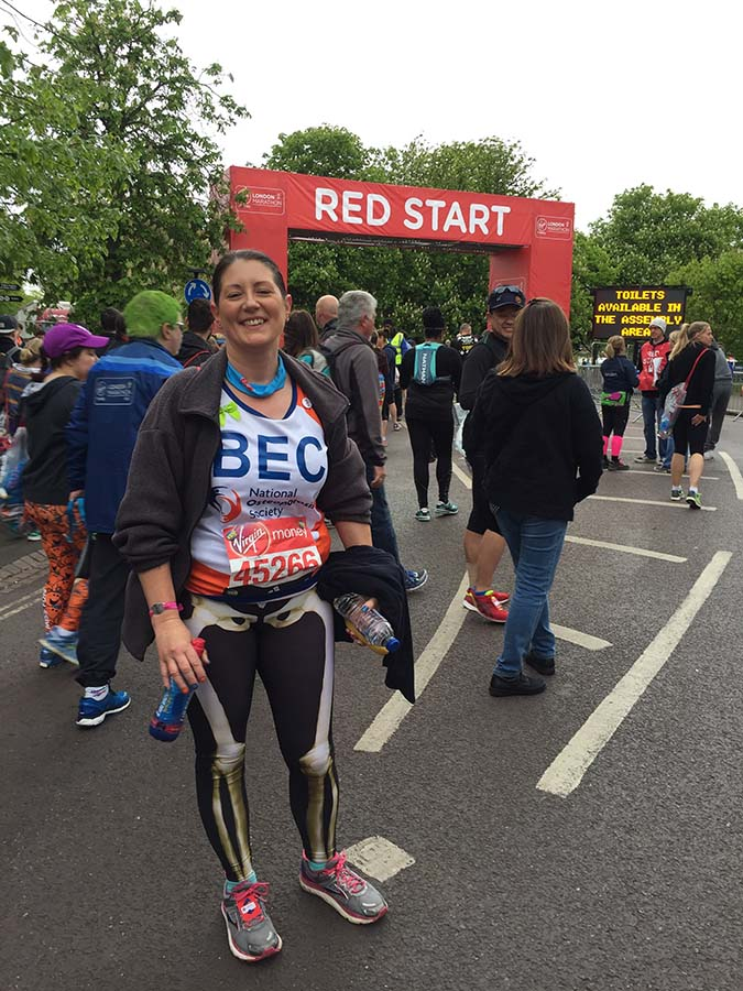 Rebecca Howells at the start of the Marathon