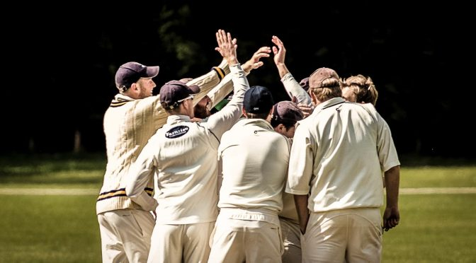 Cricketers celebrate with high fives
