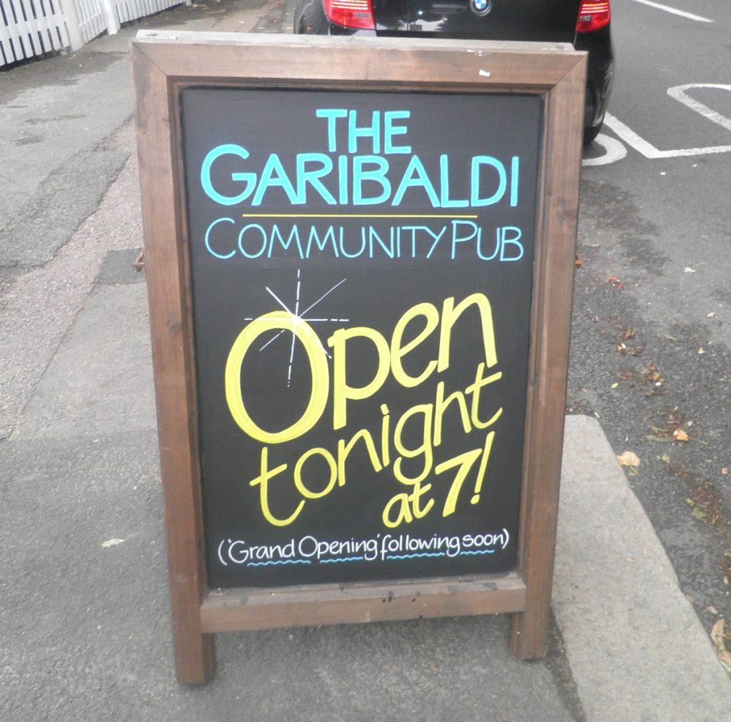 Garibaldi chalkboard sign - Redhill