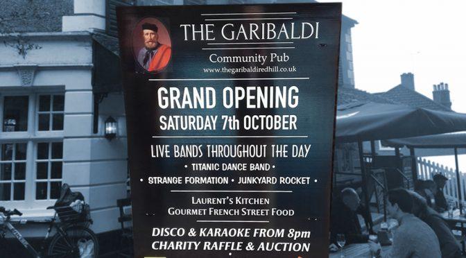 Garibaldi pub grand opening sign