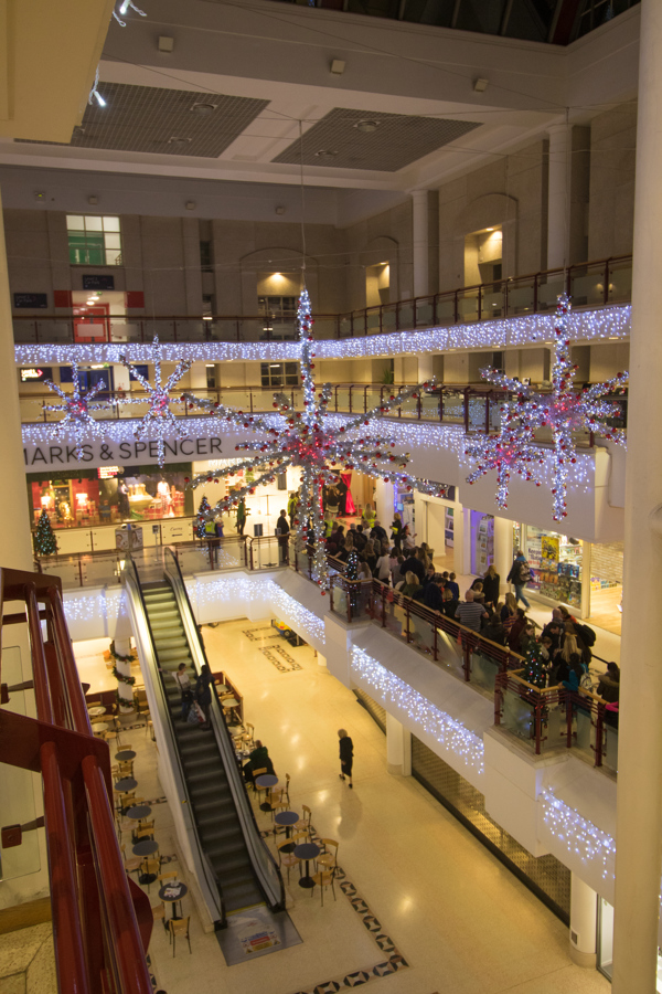 Christmas lights in shopping centre
