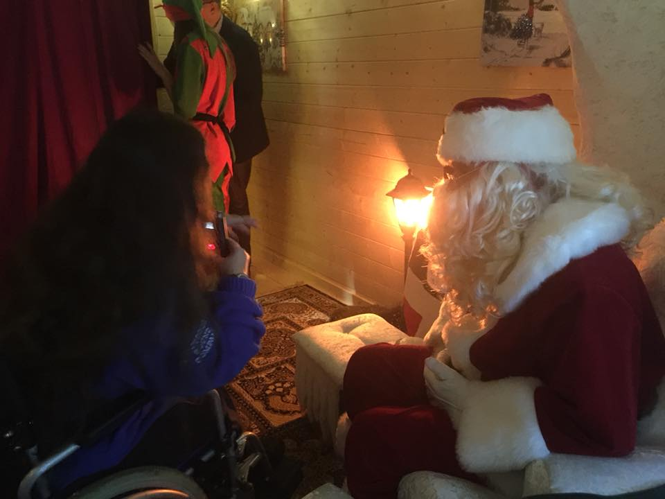 Santa being interviewed for Susy Radio