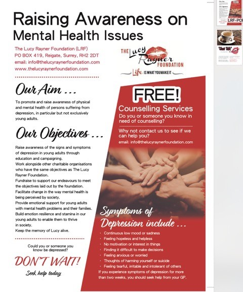 Poster for Lucy Rayner Foundation raising Awareness on Mental Health Issues