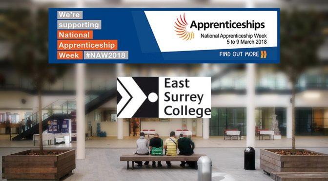 National apprentices week logo above blurred image of East Surrey College foyer