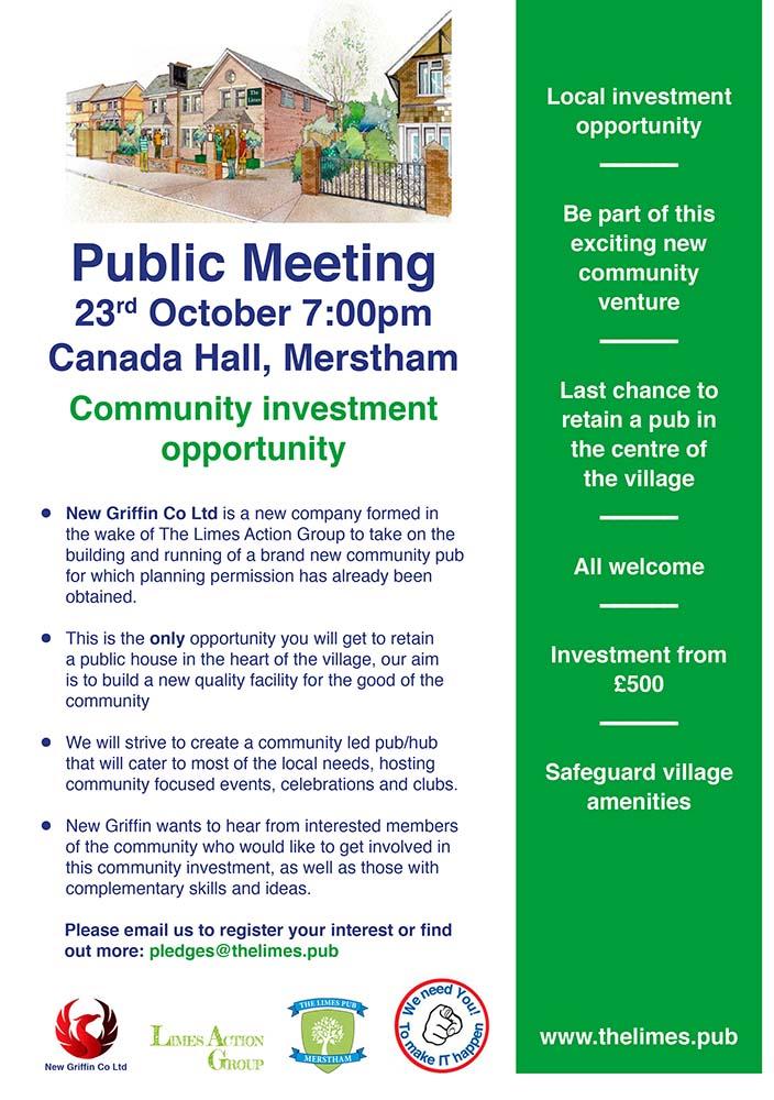 Limes pub Public meeting notice