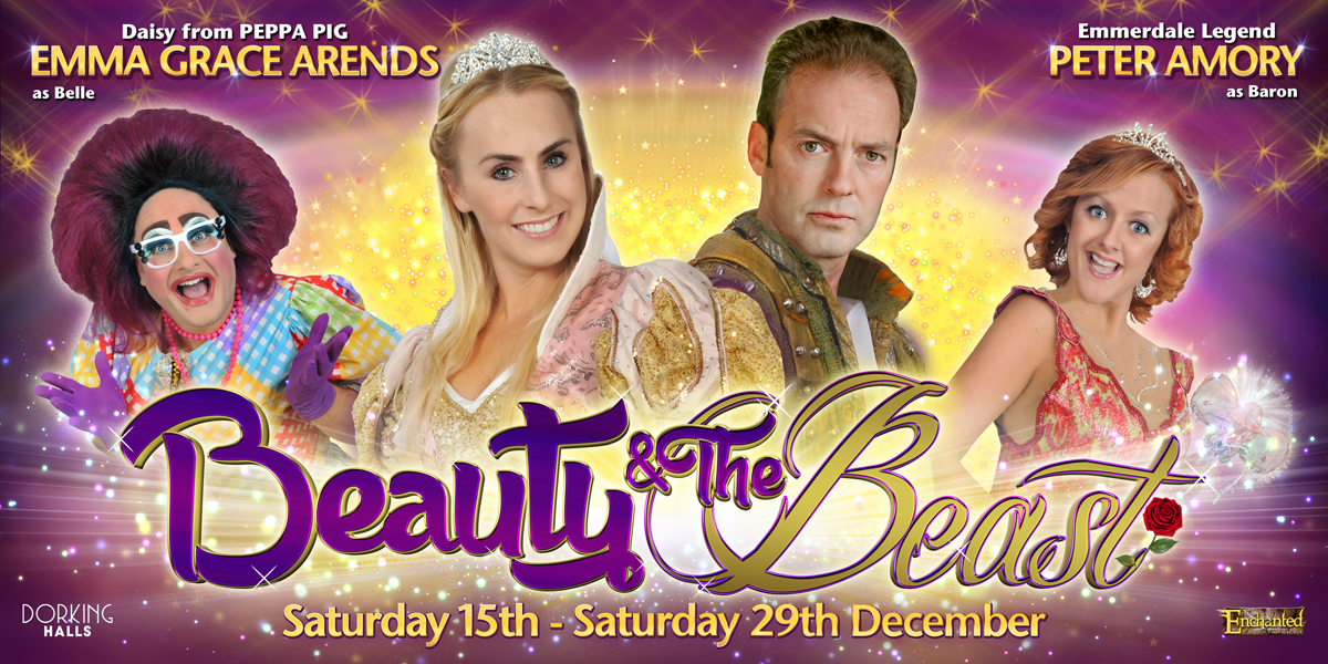 Dorking Halls Beauty and the Beast panto poster