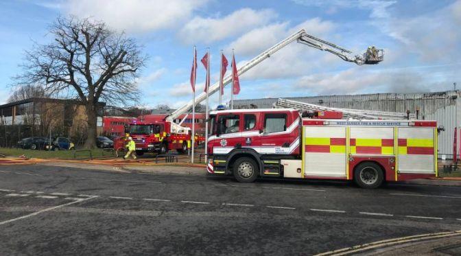 Fire at Tesla Dealership at County Oak, Crawley
