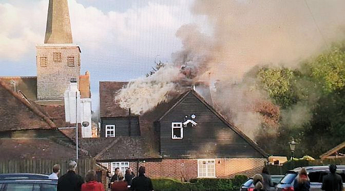 """""""Ye Olde Six Bells"""" Horley partly destroyed by fire"""
